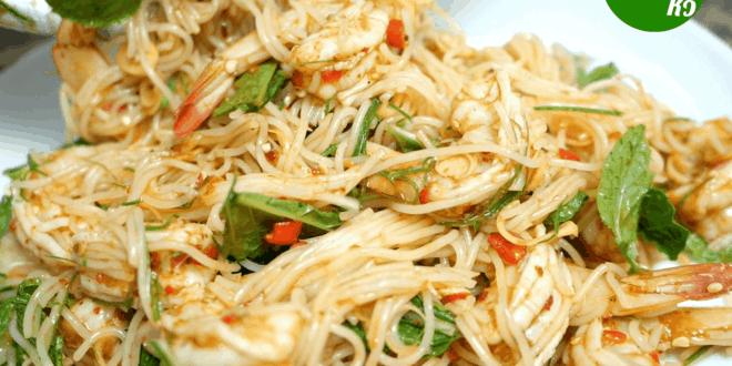 สูตรและวิธีการทำพล่ากุ้งใส่ขนมจีน