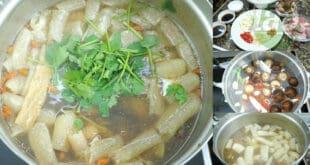 สูตรต้มกระดูกหมูตุ๋นยาจีนเยื่อไผ่และเห็ดหอม